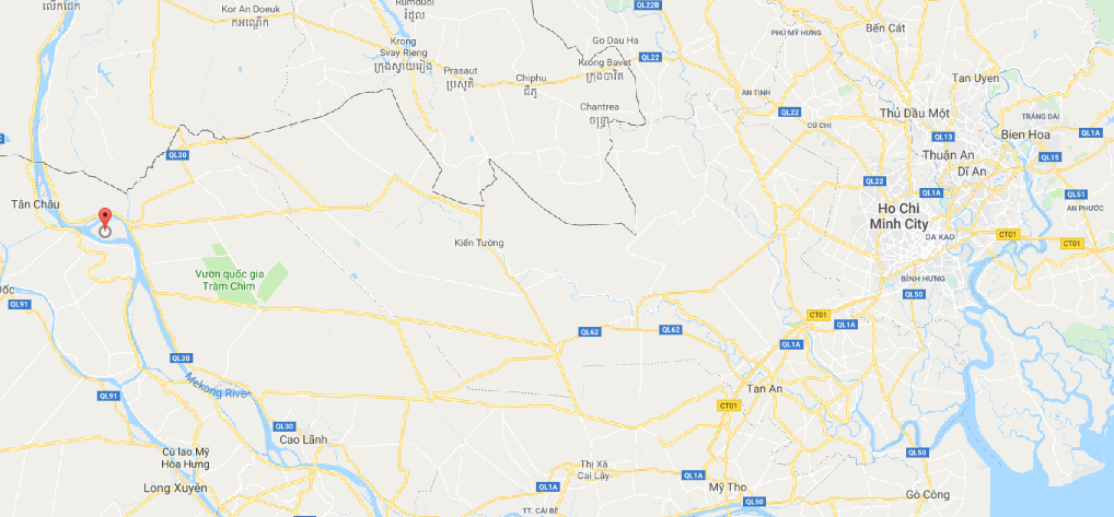 The Long Khanh weaving village (red marker) in Dong Thap Province, southern Vietnam, is seen in this Google Maps screenshot.