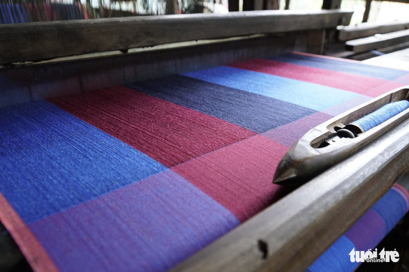 Fabric is seen at a workroom in the Long Khanh weaving village in Dong Thap Province, southern Vietnam. Photo: Tuoi Tre
