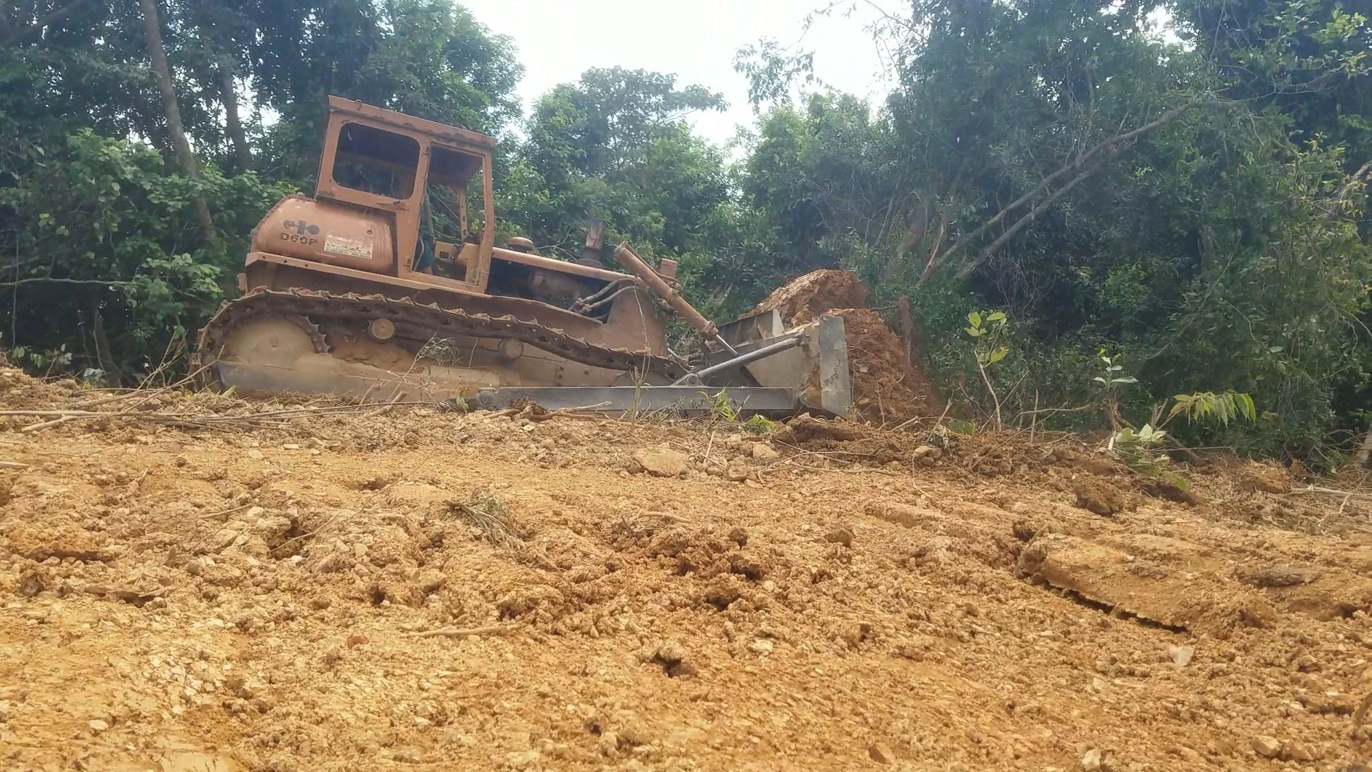 Excavators used to destroy natural forest in north-central Vietnam