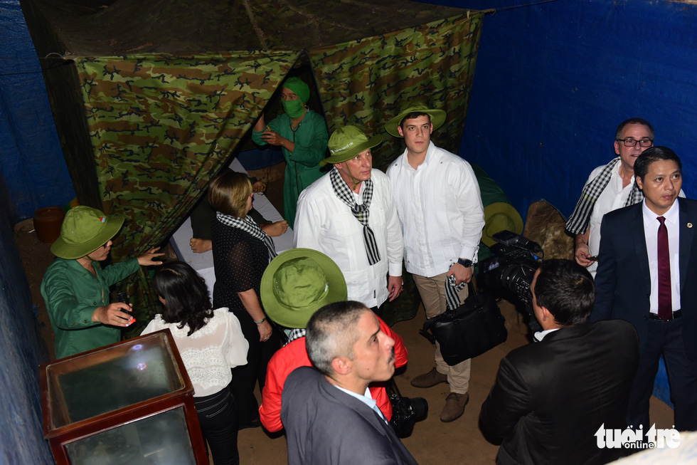 The Cuban leader tours a medical facility inside the tunnels.