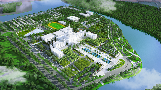 A model of VinUni's main planned for construction in Hanoi. Photo: Vingroup