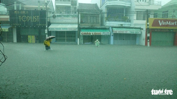 Rain triggered by tropical depression floods streets in Nha Trang