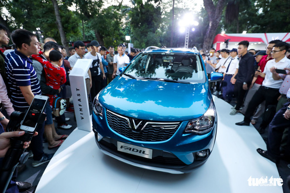 The Fadil city car is seen at the ceremony in Hanoi on November 20, 2018. Photo: Tuoi Tre
