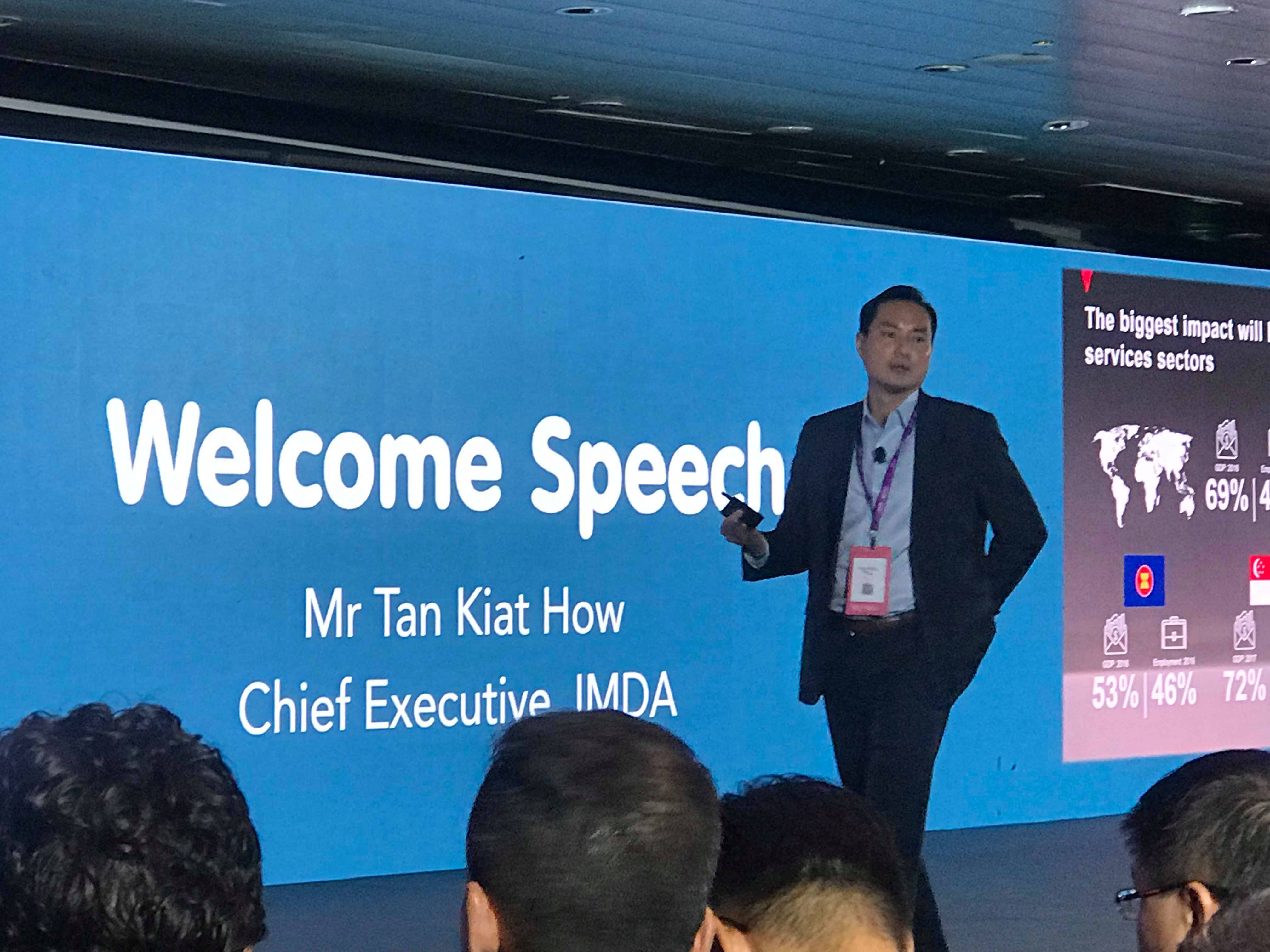 Tan Kiat How, IMDA's Chief Executive, speaks at the event. Photo: Liem Nguyen