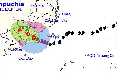 A map detailing the route of Storm Usagi on November 25, 2018. Photo: National Center for Hydro-meteorological Forecasting