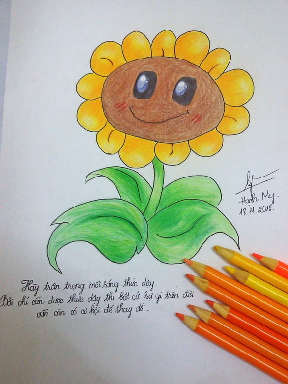 """An entry of a sunflower painting in the """"Toi dong hanh"""" campaign is seen in this photo. Photo: Tuoi Tre"""