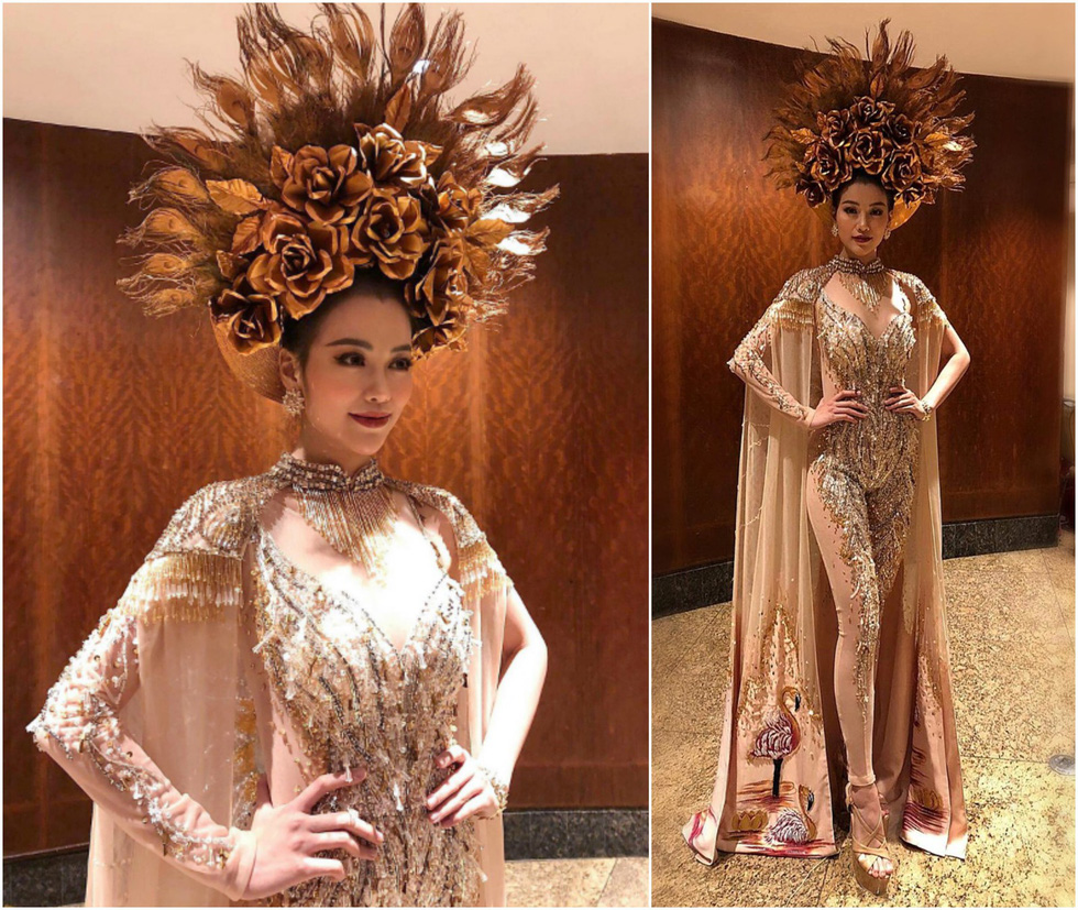 Miss Earth 2018 Phuong Khanh dons Vietnam's national costumes of ao dai for the international beauty pageant