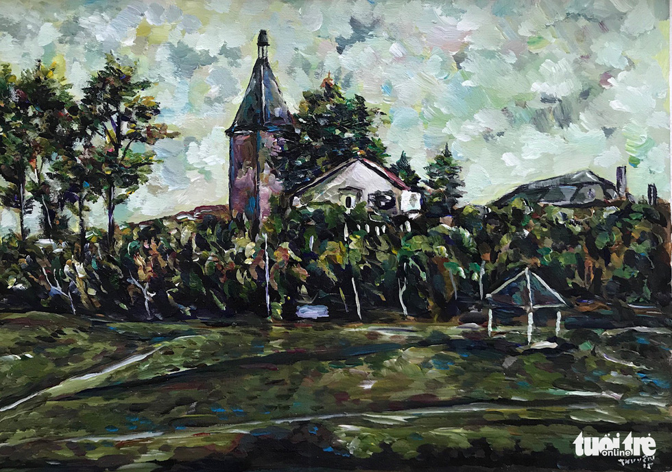 "A photo of the acrylic painting ""Thap chuong Yersin"" (Yersin Bell Tower) by Nguyen Thuyen"