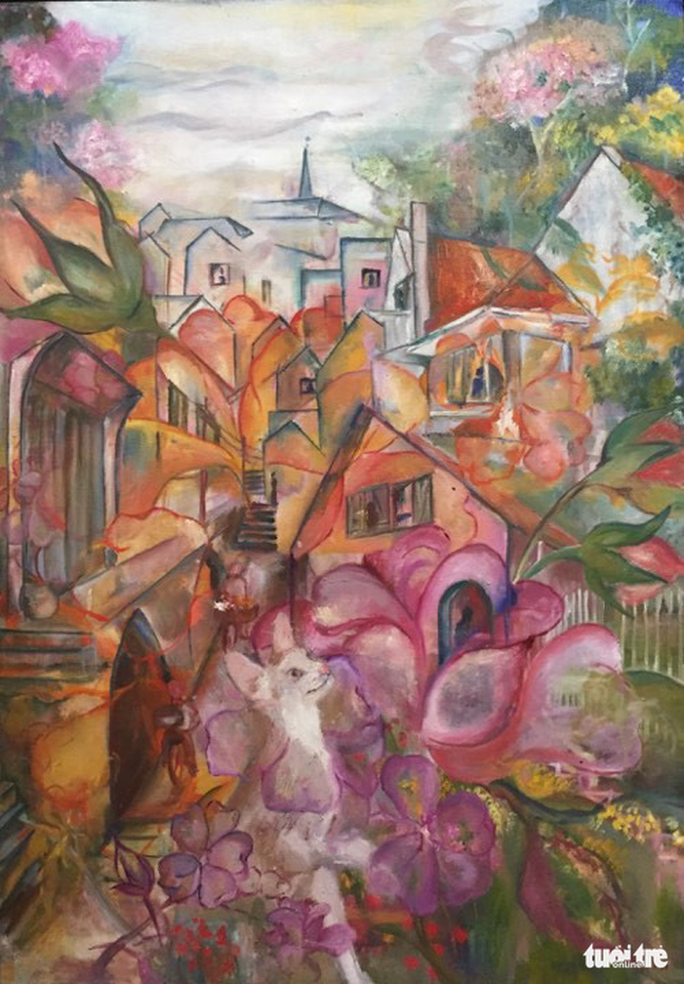 "A photo of the oil painting ""Pho hoa"" (Flower Street) by artist Nguyen Yen Phi"