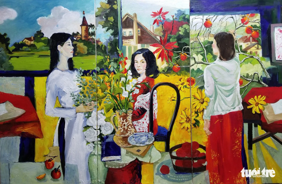 "A photo of the oil painting ""Vang son"" (Golden) by artist Nguyen The Thong"