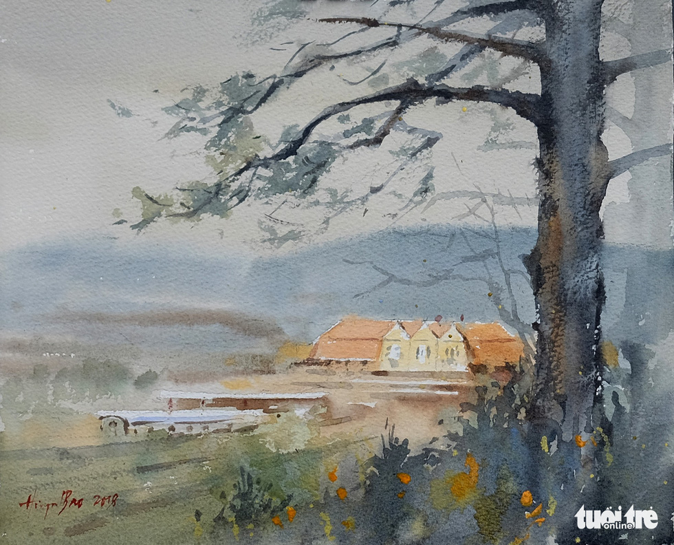 "A photo of the water color painting ""Ga Da Lat"" (Da Lat Station) by artist Bao Huynh"