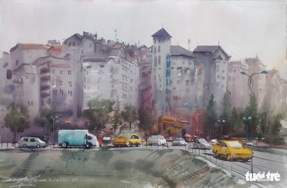 "A photo of the water color painting ""Suong Pho"" (Urban Fog) by artist Doan Quoc"