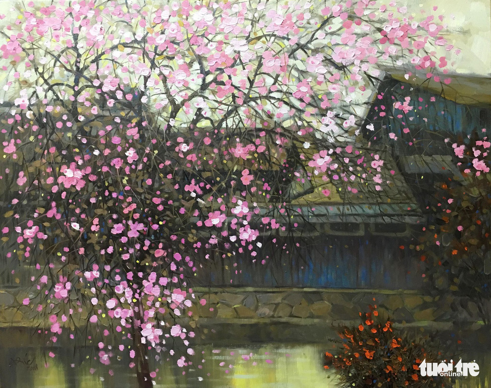 "A photo of the oil painting ""An tuong Sakura"" (Impression of Sakura) by Nguyen Anh Duc"