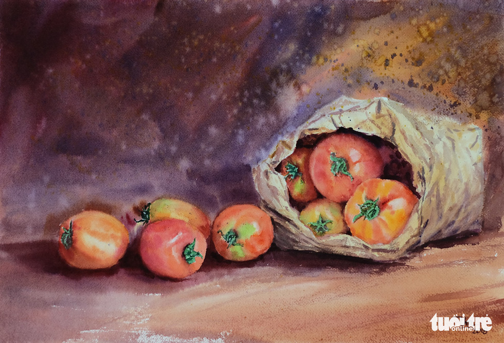 "A photo of the water color painting ""Qua Da Lat"" (Da Lat Specialty) by artist Bui Thanh Thuan"