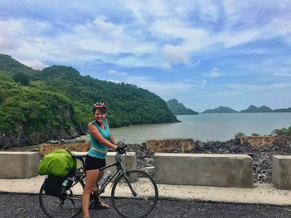 Rita Rasimaite is seen in a photo taken in Vietnam in 2017, prior to the bike theft in this supplied photo.