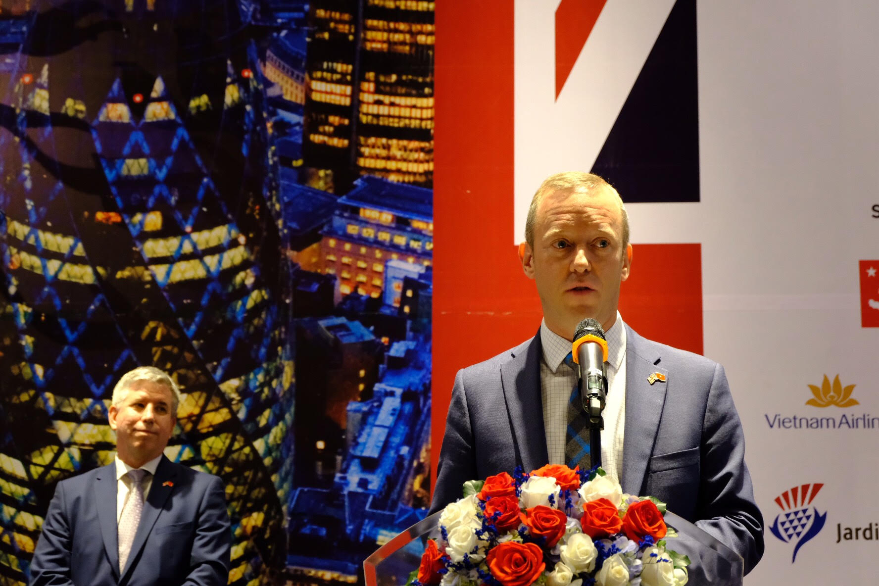British Ambassador to Vietnam Gareth Ward speaks at a business reception in Ho Chi Minh City on December 2, 2018. Photo: Tran Phuong
