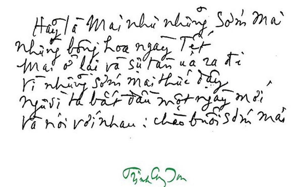 Trinh Cong Son's handwriting.