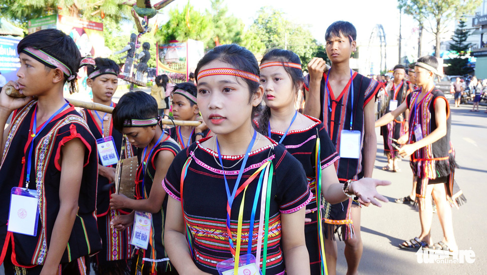 Young people parade at the gong festival in the Central Highlands province of Gia Lai. Photo: Tuoi Tre