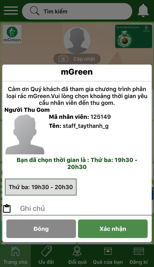 The interface of the app, named mGreen, which is being developed by the Ho Chi Minh City Urban Environment Company. Photo: Tuoi Tre