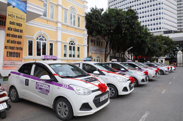Taxis which can be hailed by EMDDI – a common app operated by 17 Vietnamese taxi companies – park in front of a building in Hanoi, Vietnam, December 10, 2018. Photo: Tuoi Tre