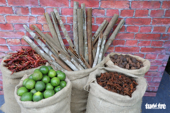 Spices to make pho are on display. Photo: Nam Tran / Tuoi Tre