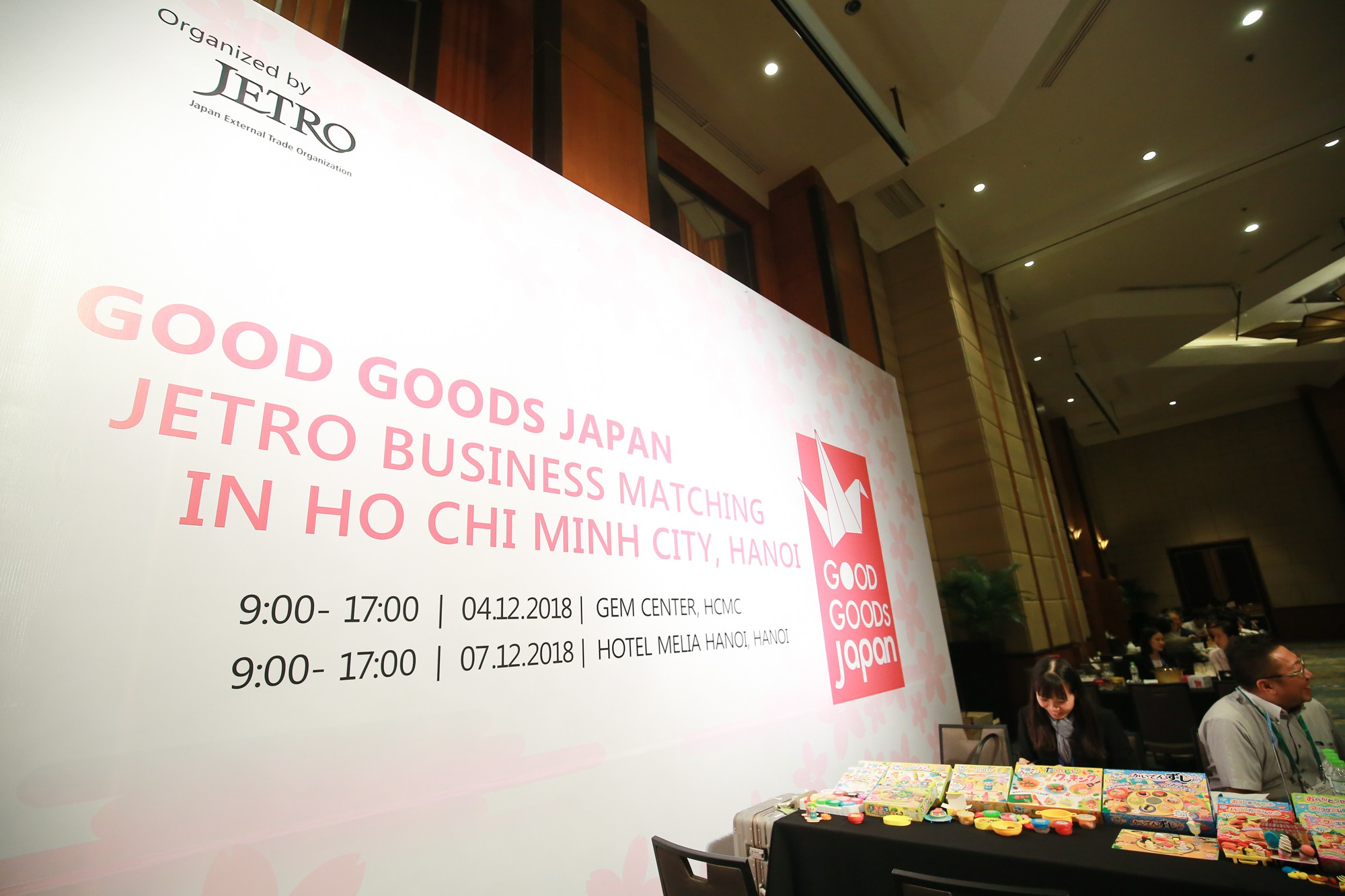 A banner for 'Good Goods Japan' is seen in Hanoi, Vietnam. Photo: Tuoi Tre