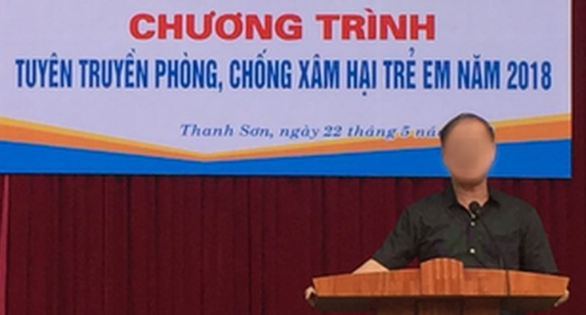 Dinh Bang My, headmaster of Thanh Son boarding middle school in Phu Tho Province in northern Vietnam, speaks at a sexual harassment training program in May 2018.