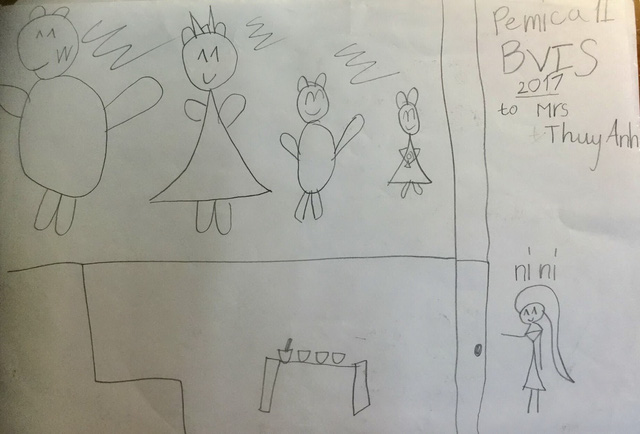 "Then-kindergartner Tien's drawing that first inspired Thuy Anh to start the ""Friends to Friends"" project  in 2017"