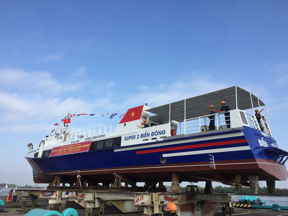High-speed boat Super 2 Bien Dong is launched at a ceremony in Quang Ngai Province in central Vietnam on December 22, 2018. Photo: Tuoi Tre