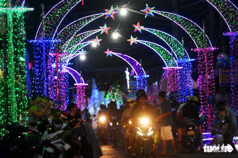 A street is lightened up with decorative lights in the southern province of Dong Nai. Photo: Tuoi Tre