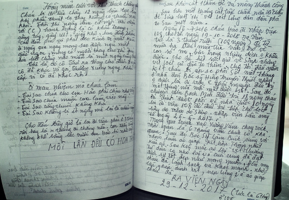 Two pages of Dinh Thi Thuong's journal tell the treatment of her son, Pham Van Hao.