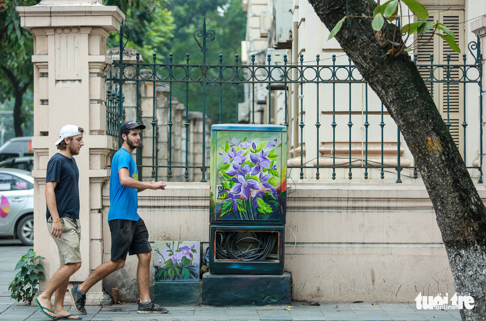 Two foreigners look at an electric cabinet colored in floral patterns. Photo: Tuoi Tre