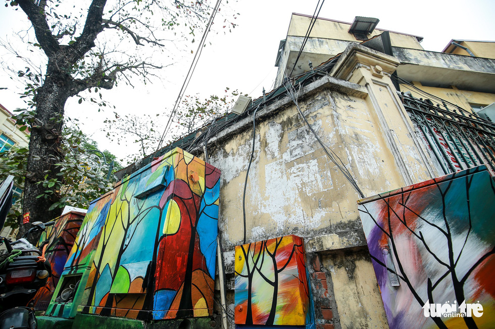 Electric cabinets in Hanoi painted in colors for New Year
