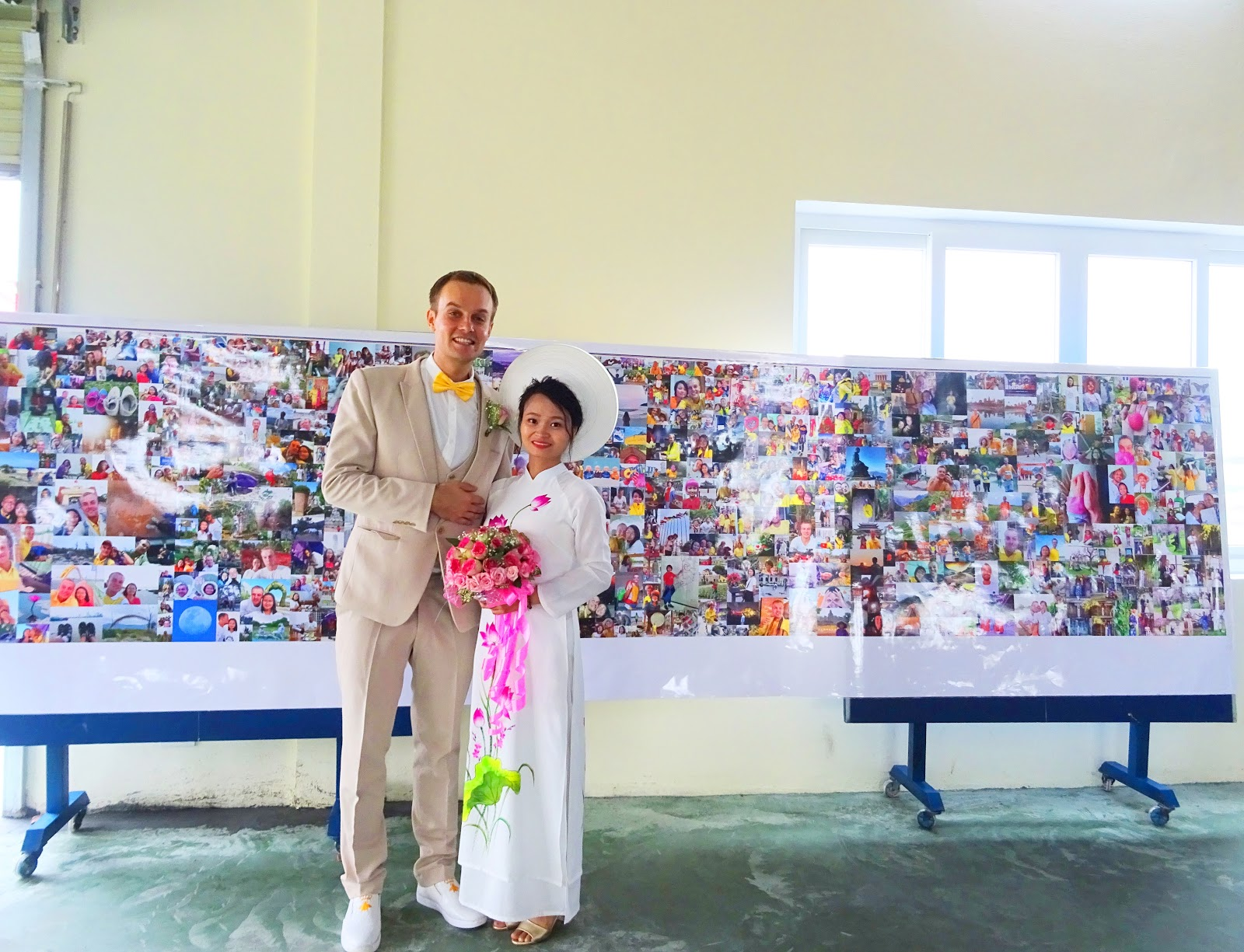 Nguyen Thi Sam and Meigo Mark at their wedding in a photo provided by the couple