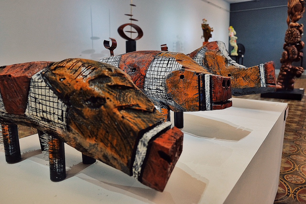 Ku Kao Khai's pig sculptures are displayed at an exhibition in Ho Chi Minh City, Vietnam, December 2018. Photo: Tuoi Tre
