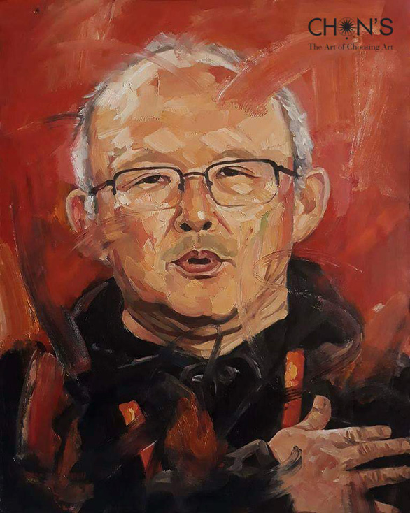 An oil painting of South Korean coach Park Hang-seo by Vietnamese artist Tran The Vinh.