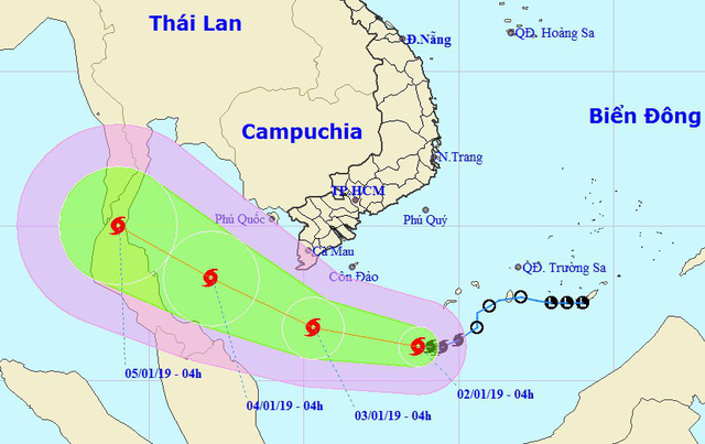 A map detailing the route of Storm Pabuk from January 2 to 5, 2019. Photo: National Center for Hydro-meteorological Forecasting