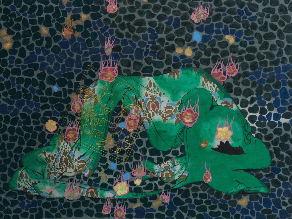 Painting Mua hoa (Flower rain) by Nguyen The Hung