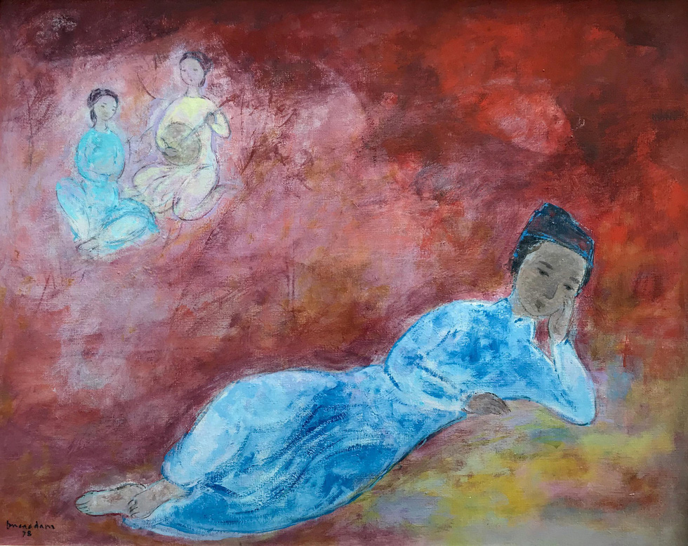Painting Le Poète signed and dated 1978 by Vu Cao Dam