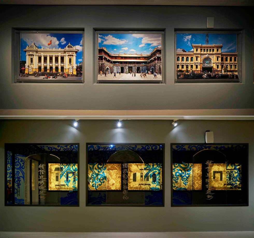 An installation photography piece (upper) and an installation artwork with a mirror (lower) are seen on the corridor wall of Vietnam's National Assembly building in Hanoi. Photo: Tuoi Tre