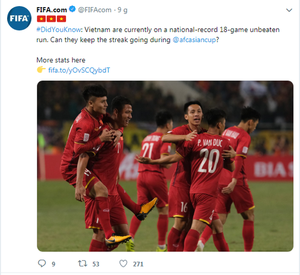 A screenshot captures the tweet on FIFA's official Twitter account on January 6