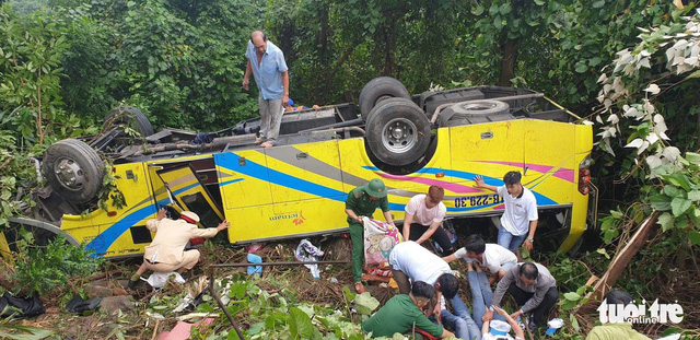 At least one dead as field trip bus plunges off cliff in central Vietnam