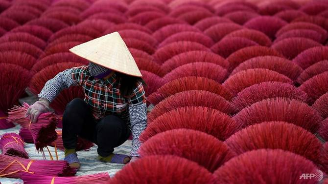 This picture taken on January 3, 2019 shows a Vietnamese woman collecting dried incense sticks in a courtyard in the village of Quang Phu Cau on the outskirts of Hanoi. Photo: AFP