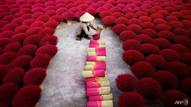 Vietnam's 'incense village' blazes pink ahead of lunar new year