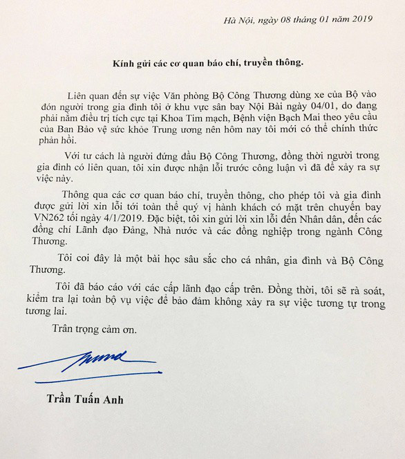 An official apology written by Minister of Industry and Trade Tran Tuan Anh.
