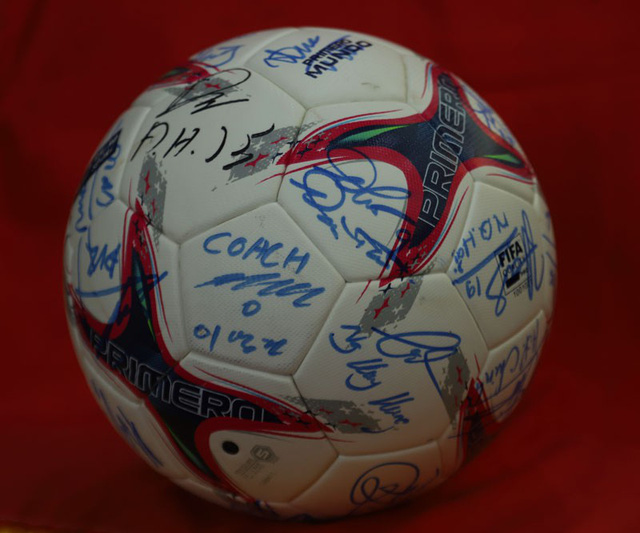 The ball signed by all the members of Vietnam's national football