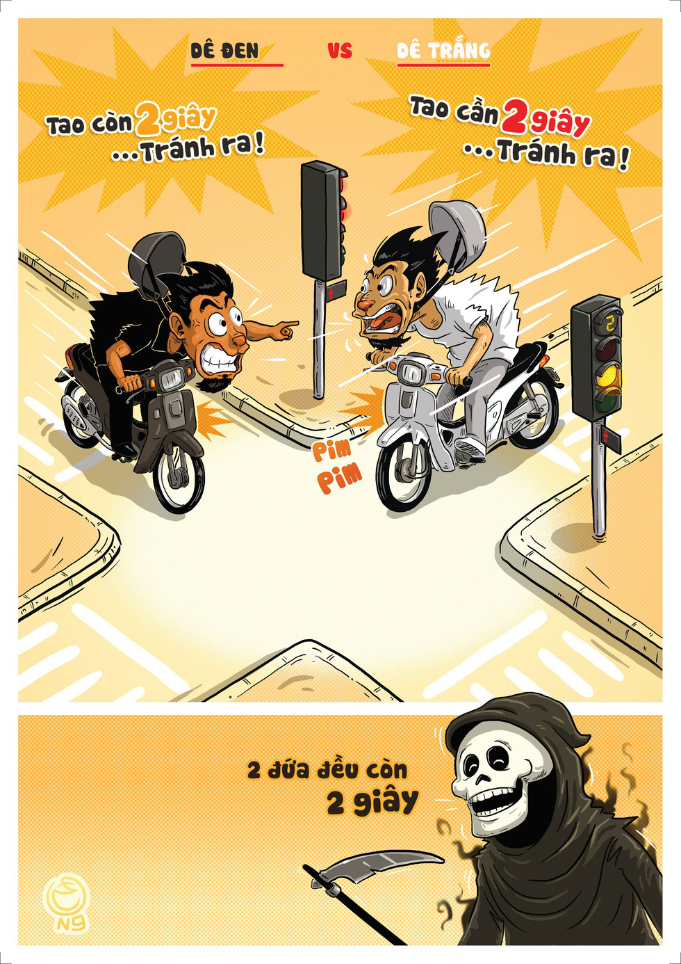 'De den va de trang' (A Story of Two Goats) by Tran Hai Nam. The caricature depicts two motorcyclists, one trying to speed through yellow light while the other trying to run the red light, but the ultimate winner is Grim Reaper who will claim both of their lives.