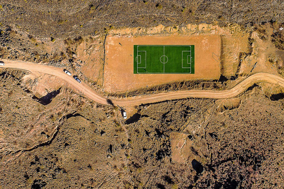 A football field in the Jebel Highlands, Oman. Photos: Dronestagram / kolibik-foto