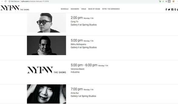 A screenshot of Nguyen Cong Tri's scheduled show on the NYFW's official website