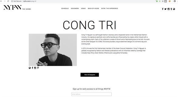A screenshot of the introduction about Nguyen Cong Tri on the NYFW's official website